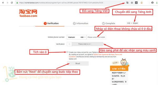 Bước 1: Tạo tài khoản cá nhân trên Taobao.com
